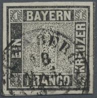 """O Bayern - Marken Und Briefe: 1849, 1 Kr. Schwarz, Platte 1, OPA-Stempel """"NÜRNBERG 18 MAR. 1850"""", Foto - Bavaria"""