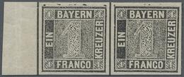 **/ Bayern - Marken Und Briefe: 1849, 1 Kreuzer Grauschwarz, Platte 1, Postfrisch, Allseits Breitrandig - Bavaria
