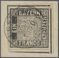 Brfst Bayern - Marken Und Briefe: 1849, 1 Kr. Schwarz, Allseits Breit- Bis überrandige Linke Obere BOGENEC - Bavaria