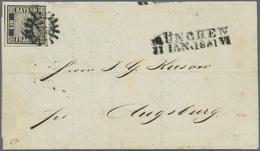 Br Bayern - Marken Und Briefe: 1849, SCHWARZER EINSER 1 Kr. In Seltener TIEFSCHWARZEN Nuance Breitrandi - Bavaria