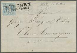 Br Bayern - Marken Und Briefe: 1850, 3 Kr. Blau, Platte 1, Allseits Breitrandig Mit Kleinem Rand Rechte - Bavaria