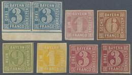 * Bayern - Marken Und Briefe: 1850 - 1862, Lot Von Einem Unterrandpaar 3 Kr Blau Platte 4 Und 6 Marken - Bavaria