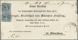 Br Bayern - Marken Und Briefe: 1850, Zweimal 3 Kr. Blau Auf VORDRUCK-BISCHOFSBRIEF An Gregor Von Münche - Bavaria