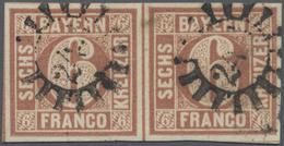 O Bayern - Marken Und Briefe: 1849, 6 Kr. Braun, Type I Im Allseits Breitrandigem Waagerechten Paar Mi - Bavaria