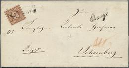 Br Bayern - Marken Und Briefe: 1849, 6 Kreuzer Braunorange Entwertet Mit Federstrich Und L2 Sowie Beige - Bavaria