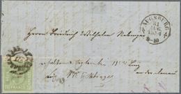 Br Bayern - Marken Und Briefe: 1850: 5 Kr Blaugrün, Linke Obere Bogenecke, Breitrandig, Bug Nur Durch O - Bavaria