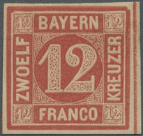 * Bayern - Marken Und Briefe: 1850, 12 Kr. Rot Ungebraucht Mit Seltenem Plattenfehler: Rechte Obere Ec - Bavaria
