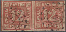 """O Bayern - Marken Und Briefe: 1850. 12 Kr. Rot Im Waagerechten Paar, Gestempelt Mit OMR """"291"""", Rechte - Bavaria"""