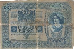 OESTERREICHISCH-UNGARISCHE BANK . 1.000 KRONEN . 2-1-1902 . N° 1756 ( ROT ) ETAT TRES MOYEN .  2 SCANES - Autriche