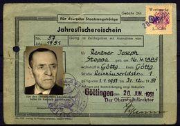 Jahresfischereischein Göttingen 1950, Entwertet, Mit Gebührenmarke DM Auf RM - Seals Of Generality