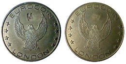 02242 GETTONE JETON TOKEN FICHA GAMING MACHINE EUROCOIN EAGLE LARGE, HEAVY AND THICK BRASS COUNTERMARK - Unclassified