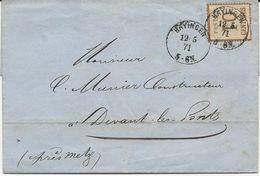 LETTRE 1871 AVEC TIMBRE D'OCCUPATION A 10 CT BURELAGE RENVERSE ET CACHET DE HAYINGEN - Marcophilie (Lettres)