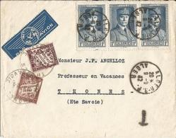 ALGÉRIE  /  Enveloppe  Par  Avion  Expédiée En 1942  D ' ALGER  à THONES ( 74 )  /   Timbres  Pétain  +   Timbres-taxe - Lettres & Documents