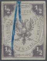 ~ Lübeck - Marken Und Briefe: 1859, 1/2 S. Doppeladler Violettgrau, Entwertet Mit Blauen Federzügen, V - Lubeck
