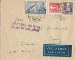 PALMA DE MALLORCA  /  Censura Militar Censure Militaire  /  Env.  Envoyée  Par  Avion  De  Palma  à  PARIS En 1939 - Marques De Censures Républicaines