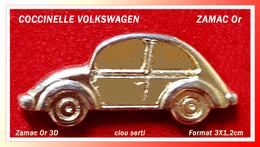 SUPER PIN'S VOLKSWAGEN : COCCINELLE En Zamac Or 3D, Belle Finition, Clou Long Serti, Format 3X1,2cm - Volkswagen