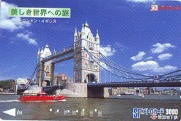 Carte Prepayee  Japon ANGLETERRE (291) GREAT BRITAIN Related * ENGLAND Prepaid Card Japan * LONDON * TOWER BRIDGE - Paysages