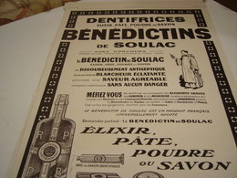 ANCIENNE PUBLICITE  DENTIFRICE BENEDICTINS DE SOULAC  1913 - Perfume & Beauty