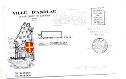Lettre Franchise Flamme Andlau Vin Passé Entete Mairie  Illustré - Marcophilie (Lettres)