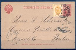 1894 , RUSIA IMPERIO , ENTERO POSTAL CIRCULADO A MARIENFELDE , LLEGADA , FR. COMPLEMENTARIO - 1857-1916 Empire