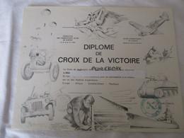 """WWII - DIPLOME """"CROIX DE LA VICTOIRE"""" - Documents"""