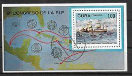 Cuba Congreso De La F.I.P.  Philexfrance 1982 Souvenir Sheet Ship Paquebot - Correo Postal