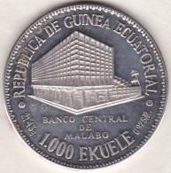Equatorial Guinea 1000 Ekuele 1978 , MASIE NGUEMA BIYOGO, Argent . KM# 35 - Equatorial Guinea