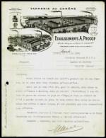 FACTURE OU LETTRE ANCIENNE DE PARIS- 1908- TANERIE AU CHROME-TRES BELLE ILLUSTRATION- 2 USINES- 2 SCANS- - Textile & Vestimentaire