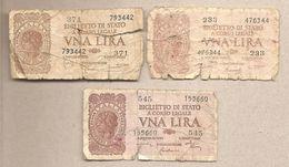"""Italia - Banconote Circolate Da 1 Lira """"Italia Laureata"""" Tutti E Tre I Decreti - 1944 - [ 1] …-1946 : Kingdom"""