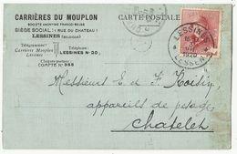 Entier Postal Publicitaire - Reklame Briefkaart Carrières Du MOUPLON à LESSINES - 1920 - Entiers Postaux