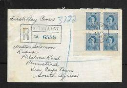 Canada 1949, 4c Block Of 4,  Princess Elizabeth, Registered OTTOWA FE 16 48, MONTREAL FE 17 48 Transit - ....-1951