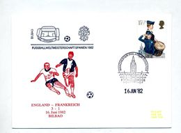 Lettre Cachet Belfast Illustré Coupe Monde Football Match Angleterre France - Coupe Du Monde