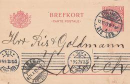 Suède Entier Postal Pour La Suisse 1912 - Postal Stationery