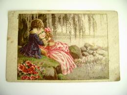 DA SASSARI  1927 A Bertiglia Romantic COUPLE COPPIA      ILLUSTRATEUR SIGNEE    POSTCARD  CIRCULE  USED  FORMATO PICCOLO - Bertiglia, A.
