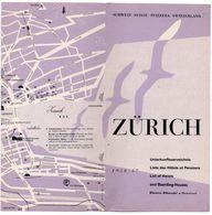 Suisse 1956/57 Dépliant Touristique Zurich - Plan Otto M. Muller Illustrateur - Liste Des Hôtels - Schweiz - Dépliants Touristiques