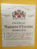 6844 -  Château Malescot St Exupéry 1981 Margaux 150 Cl Petite Déchirure - Bordeaux