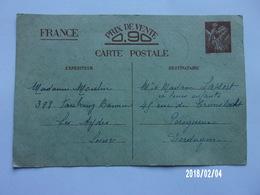 Entier Postal Iris 0.90 - 1941 - Entiers Postaux