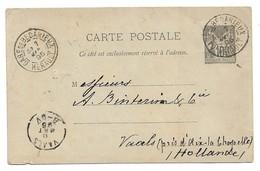 (P75) - Y&T ENTIER CARTE 89-CP4 GARE DE BEDARIEUX => HOLLANDE 1895 - Marcophilie (Lettres)