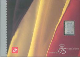 BELGIUM  - 2005 - MNH/*** LUXE  - 175 ANS JAAR BELGIE BELGIQUE STAMP IN SILVER  -  COB 3418 + BL 118 - Lot  16176 - 2001-2010