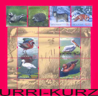 MOLDOVA 2011 Nature Fauna Forest Animals & Water Birds 4v+s-sheet Mi 759-762+Bl.56(763-766) MNH - Postzegels