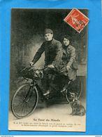 Le Tour Du Monde En Tandem-vélo--Mr Et Mme Cadet - Beau Plan Animé -a Voyagé En 1911 - Cyclisme