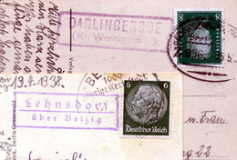 D. Reich 2 Alte Postkarten Mit Landpoststempel(n) - Poststempel - Freistempel