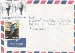 Zaire DRC Congo 1989 Kinshasa Agama Reptile Double Eagle Balloon Cover - 1980-89: Afgestempeld