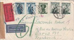 Autriche Lettre Censurée Par Exprès Par Avion Pour La France 1951 - 1945-.... 2nd Republic