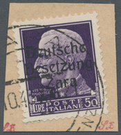 Brfst/ Dt. Besetzung II WK - Zara: 1943, Freimarke Mit Echtem Aufdruck 50 L Dunkelviolett Auf Briefstück, E - Occupation 1938-45