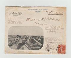LAC 1911 - Enveloppe Illustrée 2 Cotés - Entête - GRAND HOTEL BEAU RIVAGE - COUTAINVILLE (Manche)+ Cachet Convoyeur - Marcophilie (Lettres)