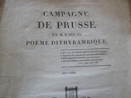 Campagne De Prusse Poème Dithyrambique C.Leber 1787 20 Pages Désolidarisées - Poesia