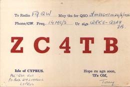 CARTE RADIO QSL - Isle Of Cyprus - ZC4TB - 1956 - Radio