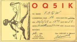CARTE RADIO QSL - Stanleyville, Congo Belge - OQ5IK - 1958 - Radio