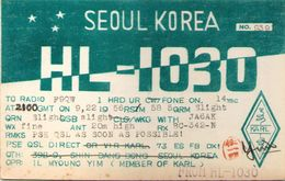 CARTE RADIO QSL - Seoul, Korea - HL-1030 - 1956 - Radio